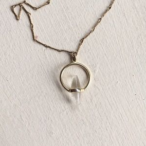 Jewelry - Quartz crystal dainty gold necklace